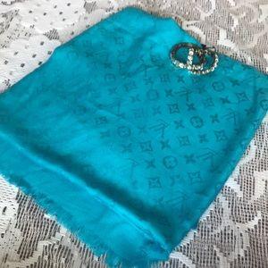 Huge Louis Vuitton scarf bright blue